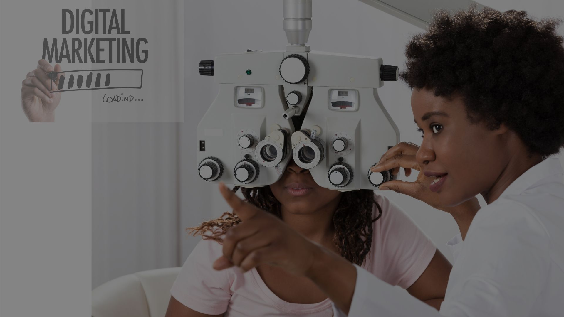female optometrist performing an eye examination